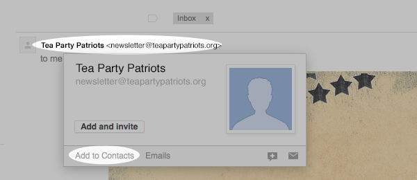 Tea Party Patriots | Make sure our emails arrive in your inbox